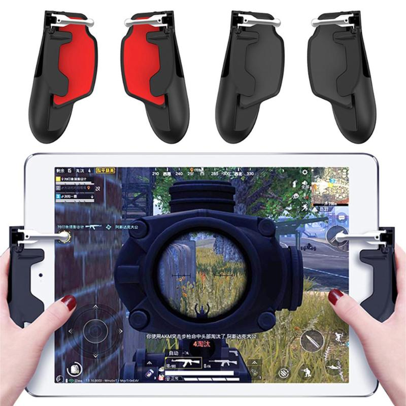 2pcs H7 Tablet Game Controller for PUBG Shoot Games ABS + Zinc Alloy Joystick Trigger Gamepad Handle for XIaomi iphone Huawei image