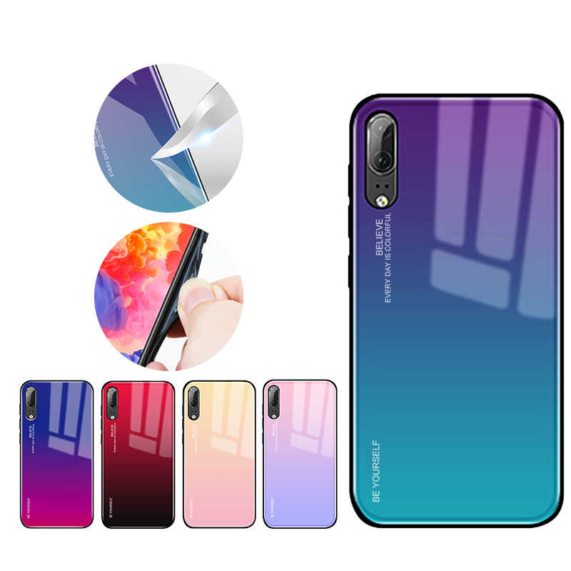 Gradient Aurora Tempered Glass Cases for Huawei P20 Case P20 Pro Case Colorful Smooth Back Protector Cover P20 Lite Shell