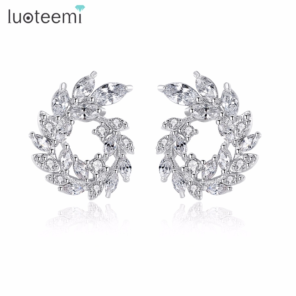 LUOTEEMI New Luxury White Gold Color Dazzling Marquise Cut Clear Cubic Zirconia Paved Olive Branch Circle Stud Earring for Women