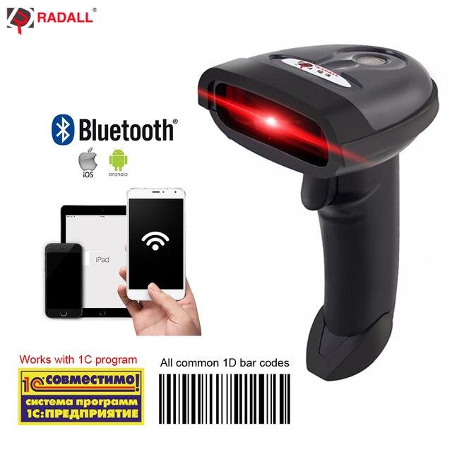 RADALL Bluetooth Cầm Tay Máy Quét Mã Vạch Không Dây Di Động 1D Đọc Mã Vạch Laser Hỗ Trợ Android/IOS/Windows RD-1698LY