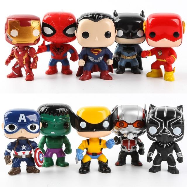FUNKO POP 10 teile/satz DC Justice League & Marvel Avengers Super Hero Charaktere Modell Vinyl Action & Spielfiguren für kinder
