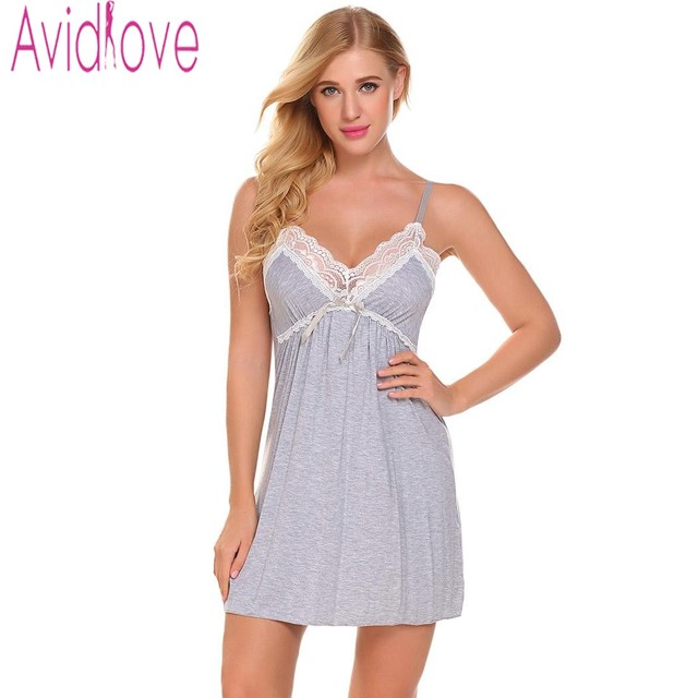 Avidlove 2018 New Summer Sexy Nightgown Nightwear Women Sleeveless V-Neck  Sleepwear Night Gown Lady Home Sleep Nightdress c6e794791