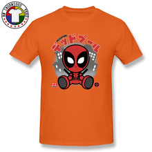 Japanese Deadpool Chibi Marvel T Shirts DC Comic Anime Super Hero Tshirts For Boy Dead Pool Shintaro Orange Red Pink