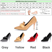 ANNYMOLI Women Pumps High Heels Lady Party Shoes Women Elegant Red Shoes 2018 Spring Fashion Large Size 33-46 Fur Ladies Pumps