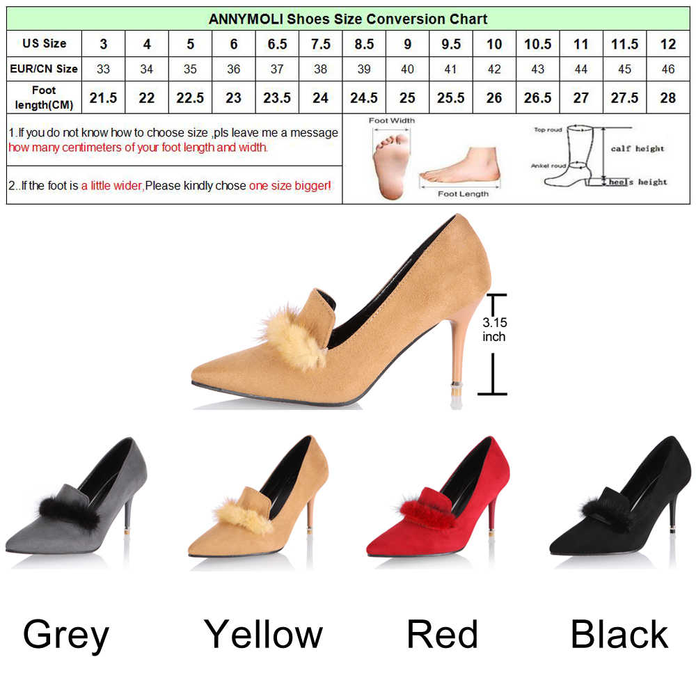 b6bab4ca ... ANNYMOLI zapatos de tacón alto para fiesta de Mujer Zapatos Rojos  elegantes 2018 primavera moda talla