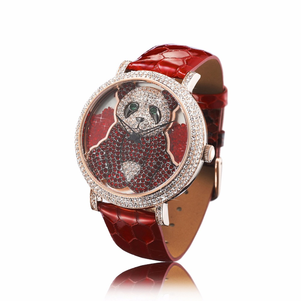 PB Fashion Women Watch Crystal Panda Dial Waterproof Leather Strap Ladies Quartz Watch Reloj Mujer Montre Femme