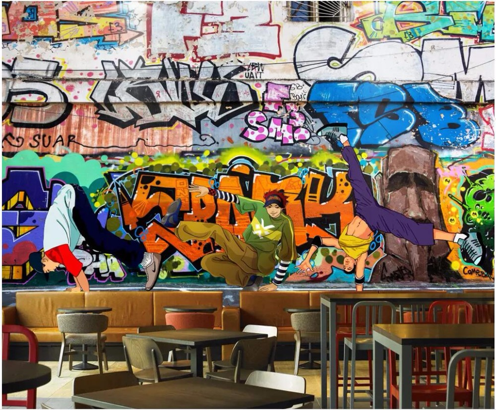 Us 30 68 Custom Photo 3d Wallpaper Fashion Trend Street Art Graffiti Hip Hop Brick Wall Home Decor 3d Wall Murals Wallpaper For Walls 3 D In