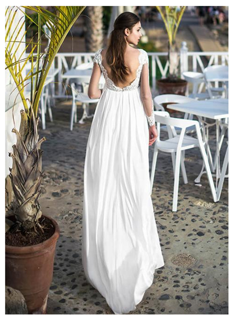 2019 Open Back Wedding Dress Long Sleeves Lace Appliques A line Sexy Romantic Wedding Bridal Gown Chiffon Wedding Gowns in Wedding Dresses from Weddings Events