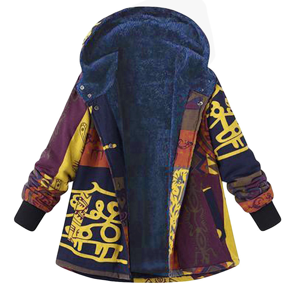 Womens Winter Warm Parkas Coat Outwear Vintage Ladies Causal Print Hooded Pockets Oversize Hasp Coats Jacket New HX0107