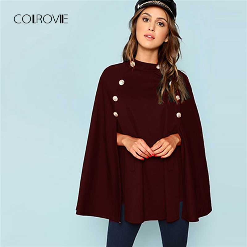 COLROVIE Burgundy Double Button Mock Stand Collar Elegant Poncho Coat Womens Capes 2018 Autumn Vintage Cloak Femme Outerwear
