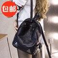 The new 2017 summer washed leather shoulder bag women bag female leisure Korean Pu backpack Book Bag tide rivet