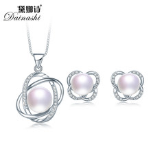 100% Real Alam Perhiasan Mutiara Set untuk Wanita 2019 Cross Liontin Kalung dan Anting-Anting Set 925 Sterling Silver Jewelry Set(China)