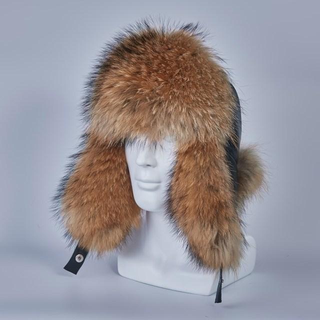 russian ushanka hats of real raccoon fur trapper hat earflap men real silver fox fur genuine leather russian winter cap H210