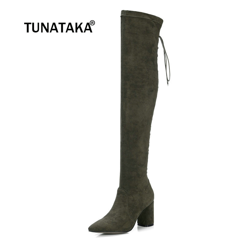 Suede Square High Heel Zipper Woman Over The Knee Boots Fashion Pointed Toe Stretch Boots Ladies Thigh Boots Black black stretch fabric suede over the knee open toe knit boots cut out heel thigh high boots in beige knit elastic sock long boots