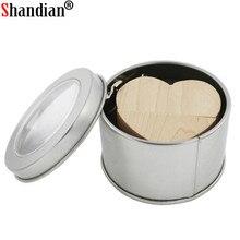 SHANDIAN wooden Heart USB Flash Drive Pendrive 64GB 32GB 16GB 8GB U Disk