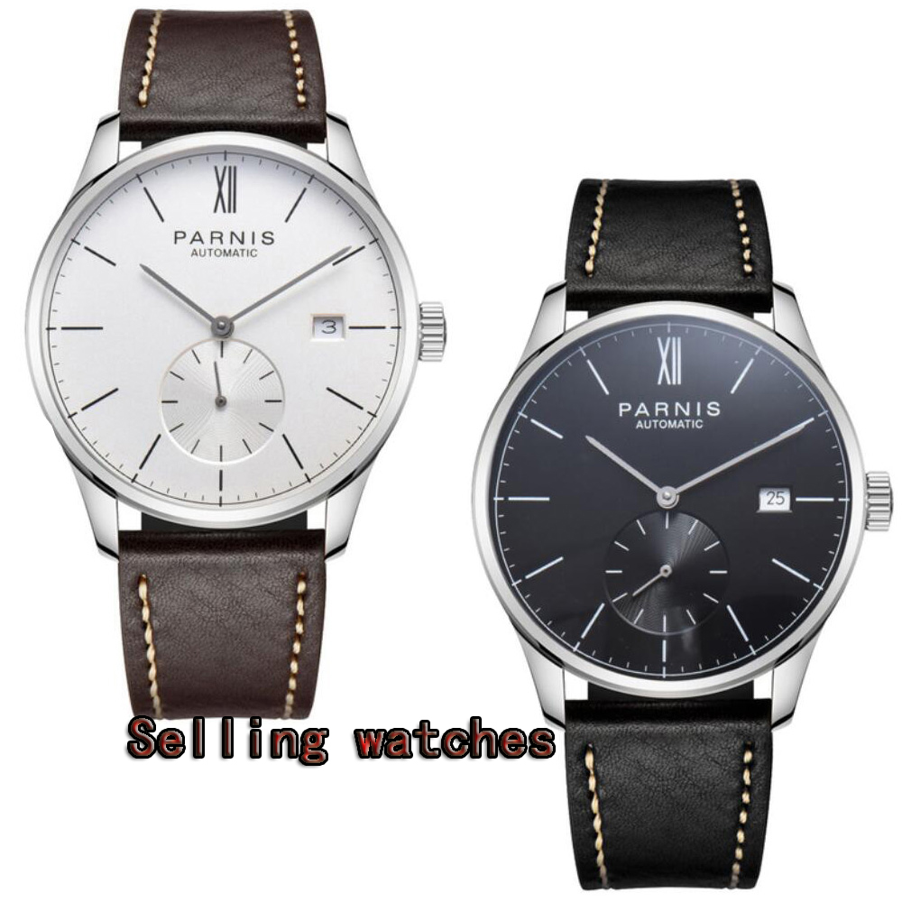 42mm Parnis White dial Stainless Steel Case Complete Calendar leather Christmas gift ST 1730 Automatic movement Men's Watch цены