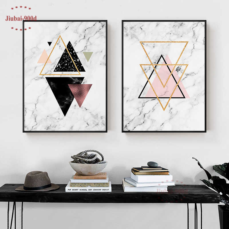 Nordic Marble Abstract Art Picture Posters and Prints Wall Art Canvas Painting Wall Pictures For Living Room Art Print SAN10
