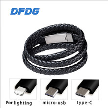 Travel Fast USB Phone Chargers Bracelet Charger Data Charging Cable Sync Cord for IPhone 7 6s Bracelet Men Steel Magnetic Clasp(China)