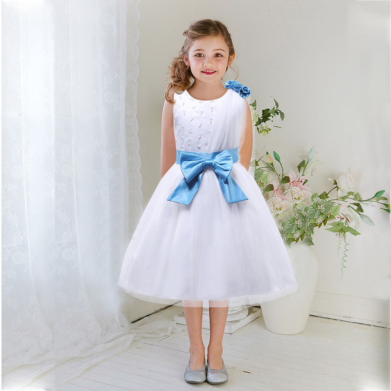 Girls Dress Baby Kids Princess Wedding Dress Knee-length Cotton Chidren Party Clothing Europe Style Brand Design High Quality