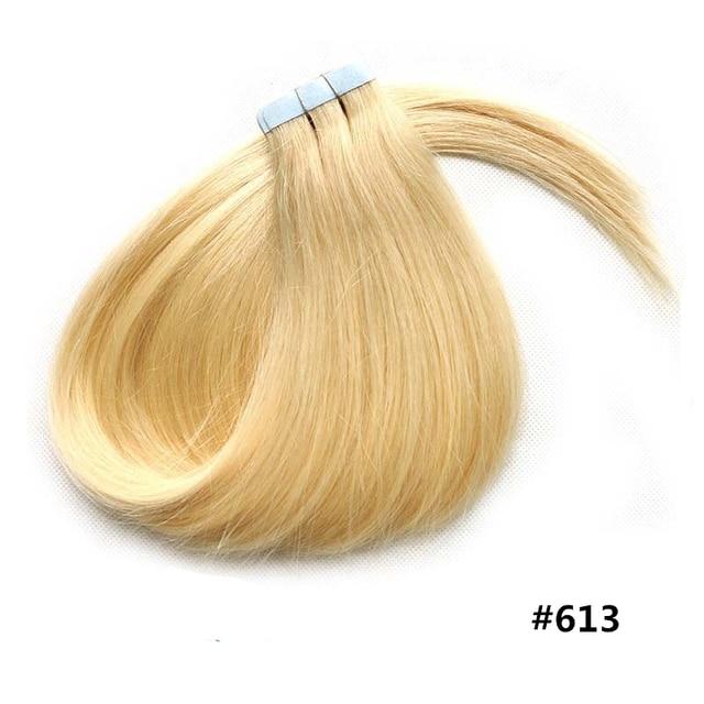 613 Bleach Blonde Cheap Tape Hair Extensions Natural Human Hair