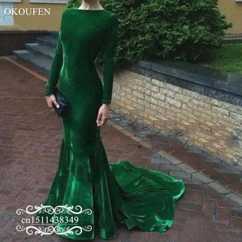 Velours vert sirène Robe De soirée à manches longues 2019 Court Train tapis rouge robes De bal fête pour les femmes Robe De soirée
