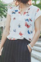 SUMMER EQ Ladies 100% silk butterfly print shirt short sleeve v-neck women soie blouse pring summer