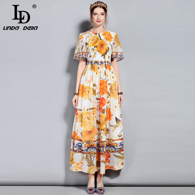 Summer Maxi Dress Flare Sleeve Chiffon Floral Printed Casual Party Elegant Long Dress