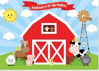 Custom Barnyard Party Farm Red Barn Cow Baby Shower photography backgrounds Computer print birthday backdrop
