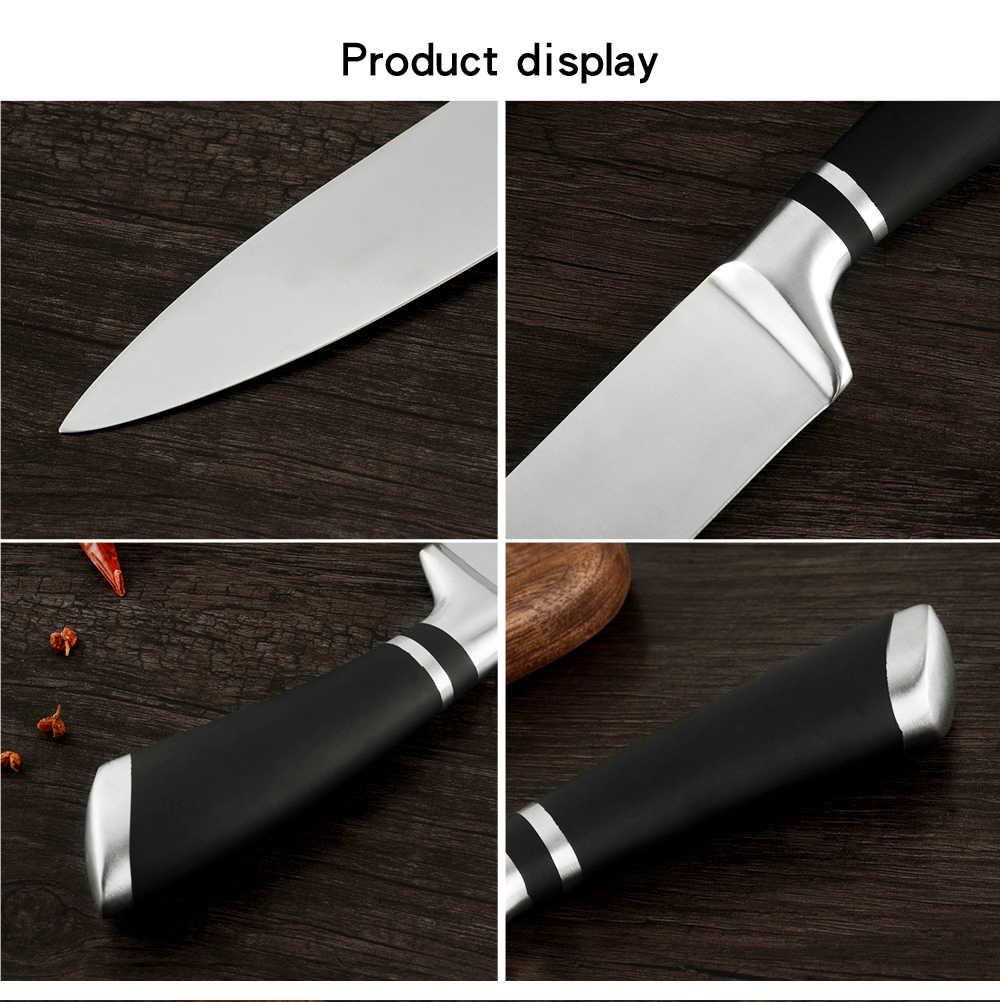 """Şam 8 """"inç Japon Mutfak Bıçakları Ayna Paslanmaz Çelik şef bıçak seti Keskin Santoku Cleaver Fileto Dilimleme Yardımcı Çatal Bıçak Takımı"""