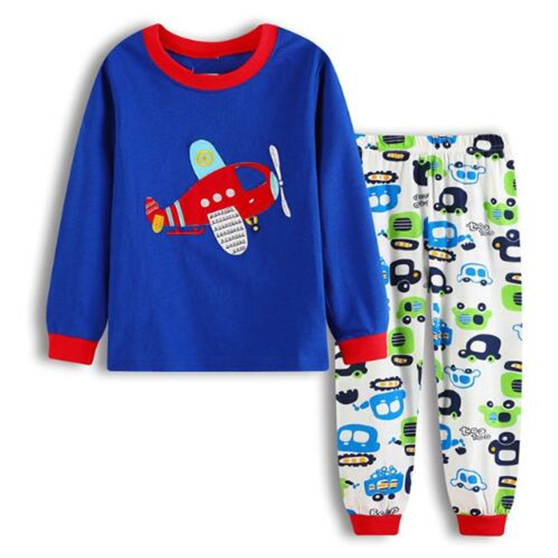 Boy clothes Kids Cotton Pajamas Children Sleepwear Baby Pajamas Sets Boys cartoon long sleeved car pyjamas cotton nightwear in Pajama Sets from Mother Kids