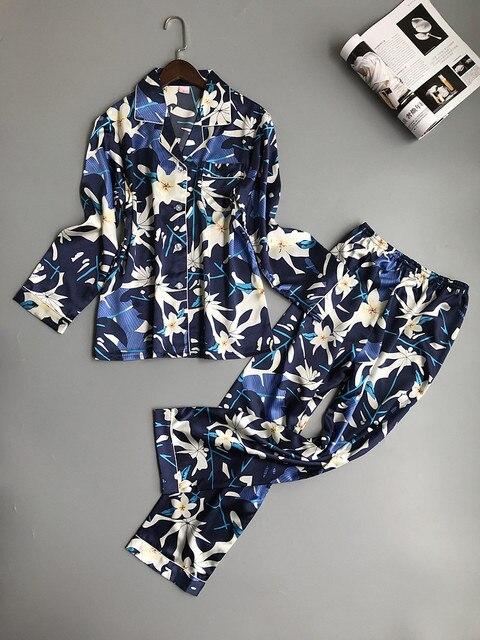 Lisacmvpnel Lente Afdrukken Patroon Vrouwen Pyjama Mooie Rayon Nachtkleding Lange Mouw Broek Twee Papier Pak