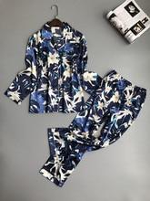 Lisacmvpnel Pijama con estampado de primavera para mujer, ropa de dormir de rayón, pantalones de manga larga, traje de dos papeles