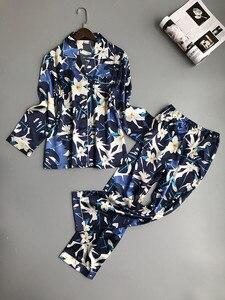 Image 1 - Lisacmvpnel Pijama con estampado de primavera para mujer, ropa de dormir de rayón, pantalones de manga larga, traje de dos papeles