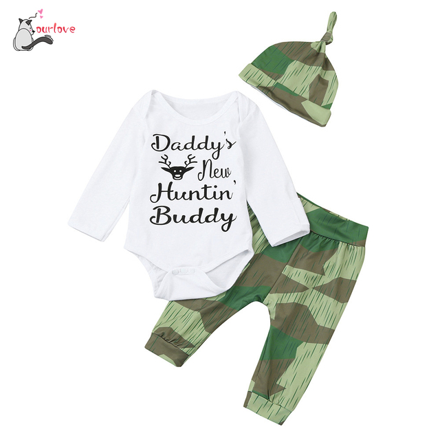 bc40953bb 3Pcs Fashion Infant Baby Boy Girl Camouflage Romper+Pants+Hat Outfits Set  Clothes Daddy's New Hunting Buddy body infantil