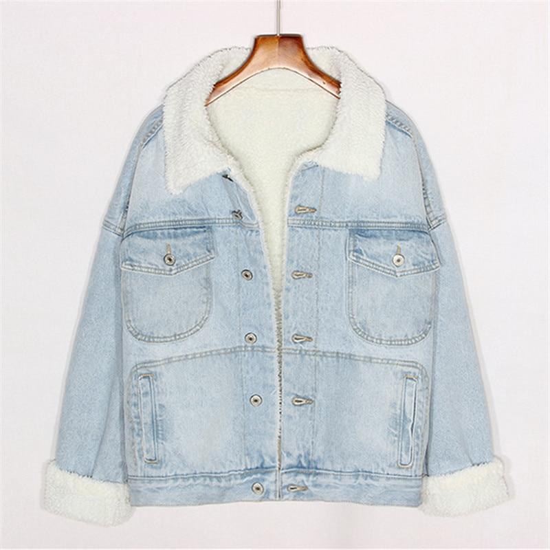 2018 Femmes Harajuku Lâche D'hiver Grande Jeans Streetwear Denim Vêtements Manteau Blue Veste Taille Light Vintage Dames Chaud wwqHY