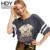 Hdy haoduoyi mujeres grises de moda camisetas de algodón del o-cuello de manga corta imprimir loose tops mujeres breve estilo suave básica casual tees