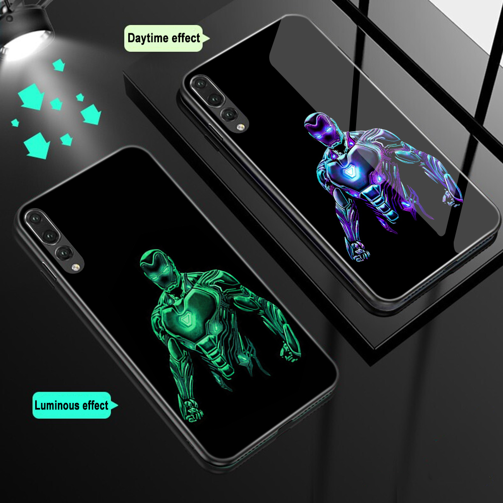 ciciber Marvel Iron Man for Huawei P30 P20 Mate 20 Lite Pro Luminous Tempered Glass Phone Cases for Honor 10 Lite Cover Deadpool-in Fitted Cases from Cellphones & Telecommunications