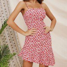 Floral Print Short Dress Women 2019 Summer Sexy Sling Backless Fashion High Waist Femme Irregular Ruffle Vestidos