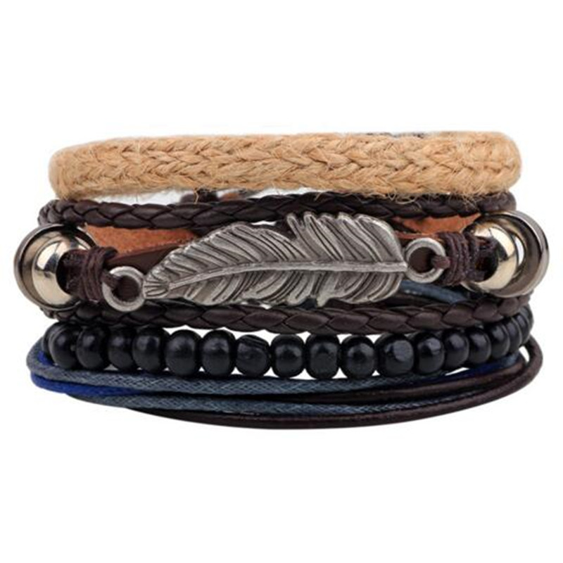 Fashion 1 Set 4PCS leather bracelet Men's multi-layer bead bracelet women's retro punk casual men's bracelet jewelry accessories