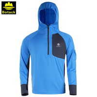 Outdoor male hoodie T shirt sunscreen half zipper clothing men breathable UV camping hiking long sleeve hooded fishing shirts