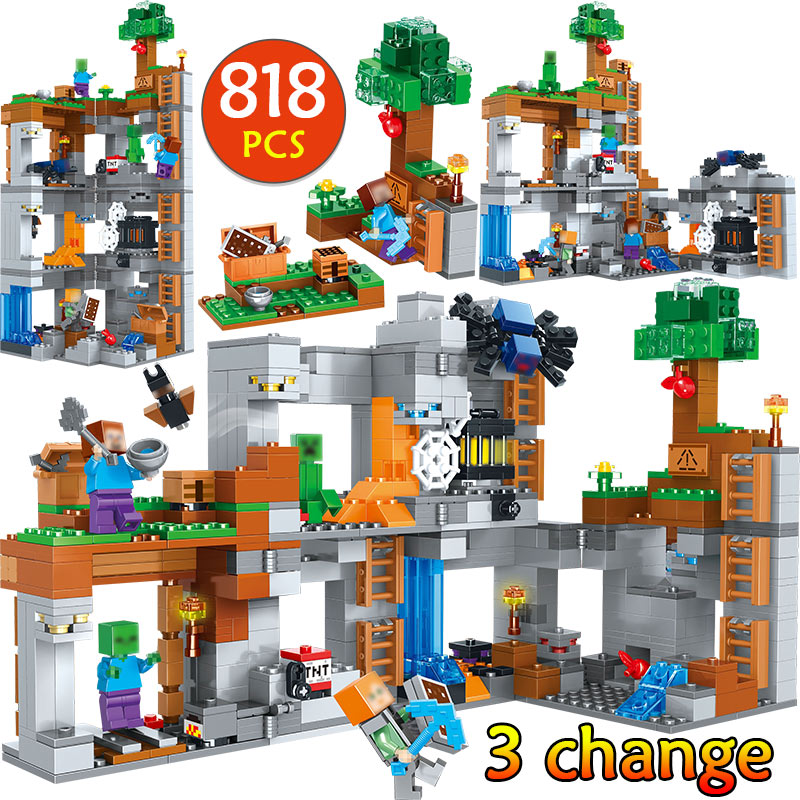 My World Cornerstone Adventures Building Blocks Compatible Legoingly Minecrafted 21147 Steve Figures Bricks Toys for children my world tree house brick scene series steve mini blocks model building blocks kit toys for children compatible 21125