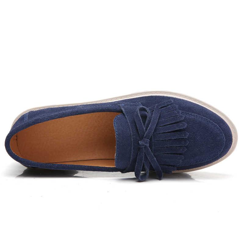 O16U 2018 printemps femmes plate-forme chaussures en daim cuir gland mocassins sans lacet chaussures décontractées femmes mocassins dames Creepers