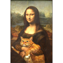 Mona Lisa Art Full Square Drill Fat Cat Cartoon Fantasy 5D Diamond Painting Round Home Decoration Resin 3D Embroidery