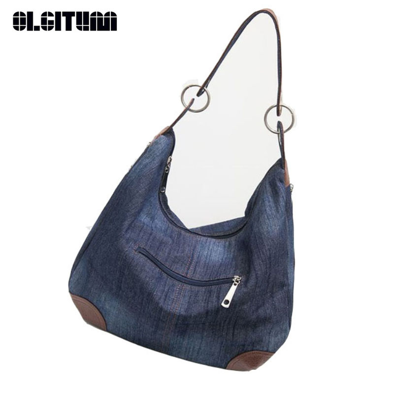 OLGITUM 2017 New Large Luxury Handbags Women Bag Designer Ladies Hand bags Big Purses Jean Tote Denim Shoulder Crossbody HB016 2017 new brand shoulder bag large fashion women bag ladies hand bags luxury designer handbags women messenger bags casual tote