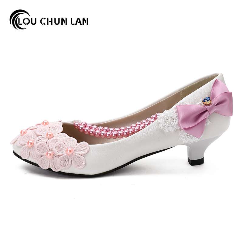 White Pink Purple Color Bow Wedding Shoes Bridesmaid 3cm 5cm Heel Sweet Princess Female Women Pumps In S From On
