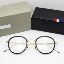 Wysokiej jakości kształt zaokrąglony octan TB905 okulary rama mężczyźni okulary w stylu retro kobiety krótkowzroczność okulary do czytania óculos De Grau