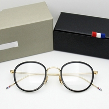 Yüksek kaliteli yuvarlak şekilli asetat TB905 gözlük çerçeve erkekler Retro gözlük kadın miyopi okuma gözlük óculos De Grau