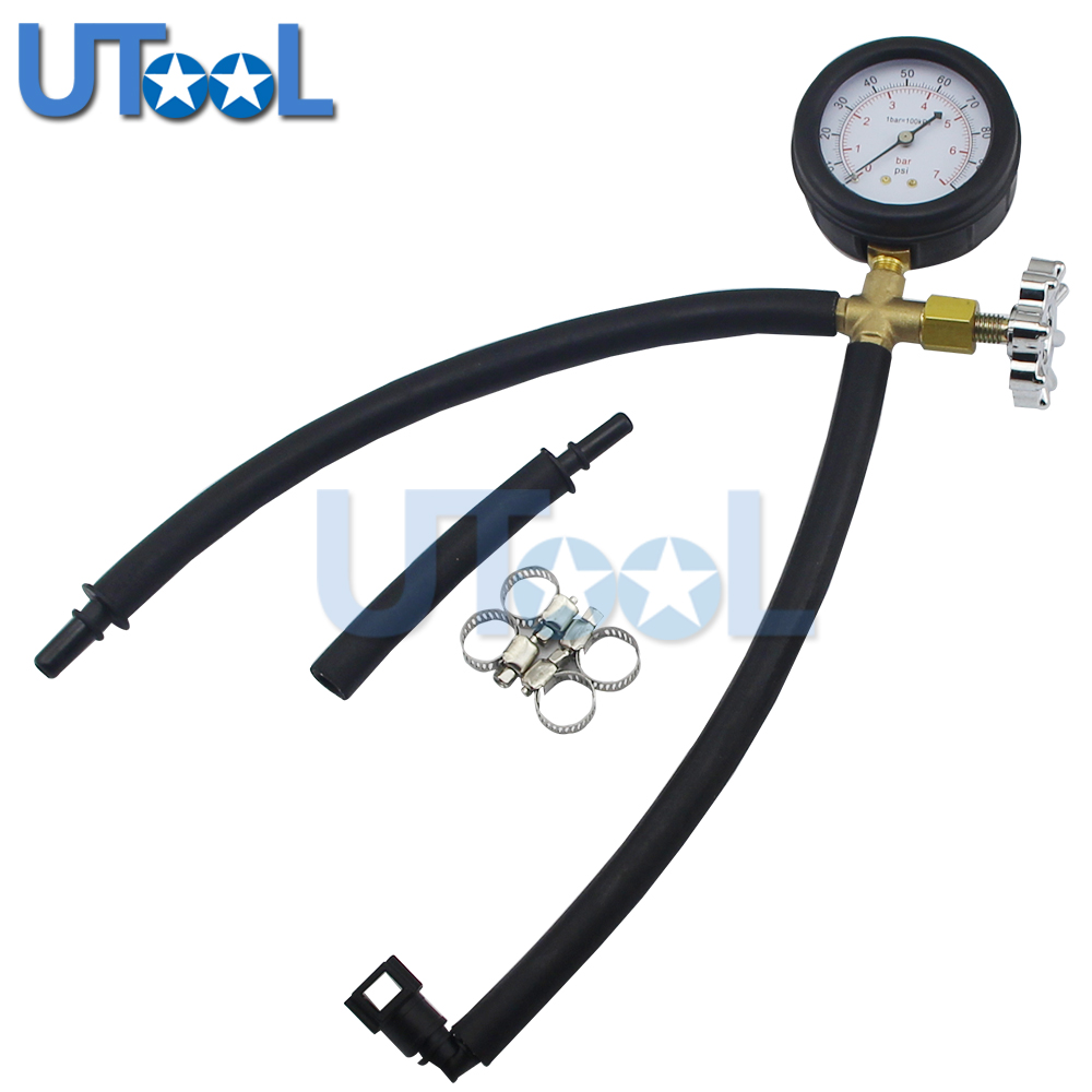 UTOOL Quick Connected Fuel Injection Pump Pressure Tester Gauge With Valve 0 100PSI