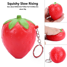 Купить с кэшбэком kawaii Squish Strawberry cheap Slow Rising Squeeze Phone Strap Charm Pendant Squishes fruit soft Scented Kid Toy Gift Collection