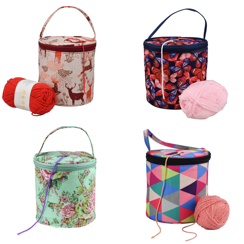 Knitting Yarn Round Crochet Bag Knitting Needles Yarn Tote Organizer DIY Craft Woolen Storage Basket Sewing Tool Accessories Bag